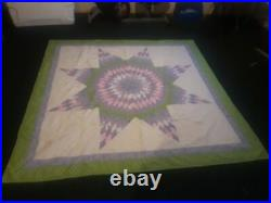 Native American Star Quilt Hand Made Queen size Powwow Authentic