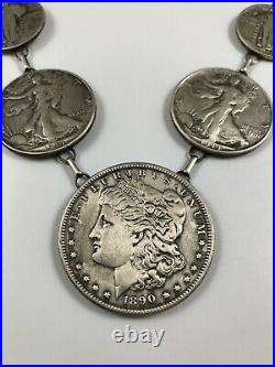 Native American Sterling Silver Coin Necklace Made w Genuine U. S. Morgan Dollar