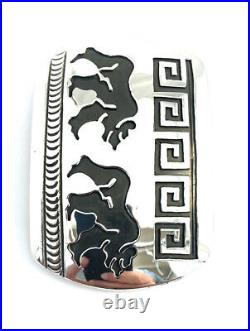 Native American Sterling Silver Hand Made Bear Design Belt Buckle