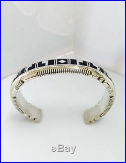Native American Sterling Silver Hand Made Black Onyx With Mother Pearl