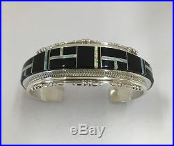 Native American Sterling Silver Hand Made Black Onyx With Opal Bracelet