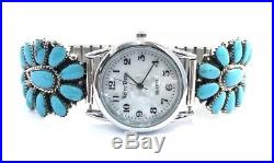Native American Sterling Silver Hand Made Cluster Turquoise Mans Watch