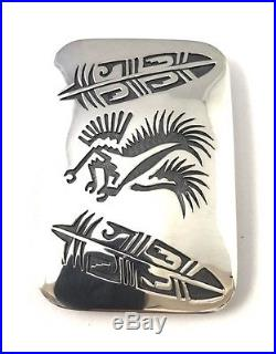 Native American Sterling Silver Hand Made Eagles Feather Design Belt Buckle