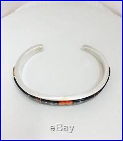 Native American Sterling Silver Hand Made Inly Bracelet