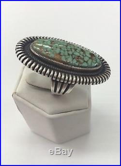 Native American Sterling Silver Hand Made Kingman Turquoise Ring Size 9.5