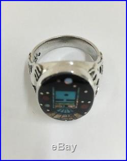 Native American Sterling Silver Hand Made Multi Collar Inlay Ring Size 12