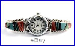 Native American Sterling Silver Hand Made Multi-Color Ladies Watch