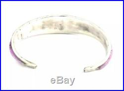 Native American Sterling Silver Hand Made Navajo Pink Opal Cuff Bracelet