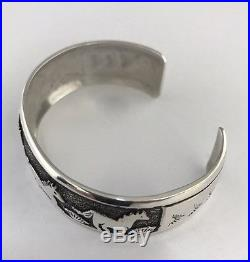 Native American Sterling Silver Hand Made Over Lay Horse Design Cuff Bracelet