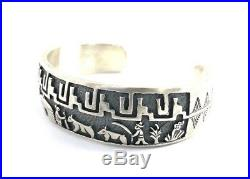 Native American Sterling Silver Hand Made Over Lay Story Teller Cuff Bracelet
