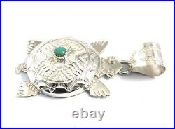 Native American Sterling Silver Hand Made Over Lay Turtles Pendant