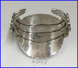 Native American Sterling Silver Hand Made Turqoise Cluster Bracelet