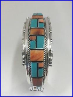 Native American Sterling Silver Hand Made Turquoise And Spiny Oyster Bracelet