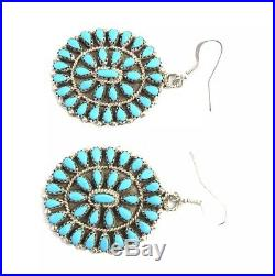 Native American Sterling Silver Hand Made Turquoise Cluster Dangles Earring