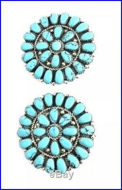 Native American Sterling Silver Hand Made Turquoise Cluster Earrings
