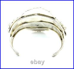 Native American Sterling Silver Hand Made White Buffalo Cluster Cuff Bracelet