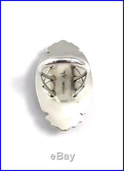 Native American Sterling Silver Hand Made White Buffalo Ring Size 8.5