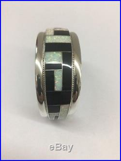 Native American Sterling Silver Hand Made Zuni Black Onyx And Opal Cuff Bracelet
