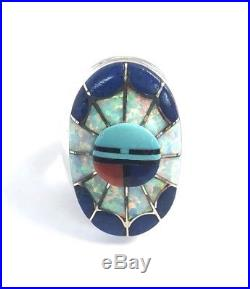 Native American Sterling Silver Hand Made Zuni Lapis And Opal Ring Size 10