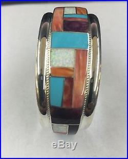 Native American Sterling Silver Hand Made Zuni Multi Color Cuff Bracelet