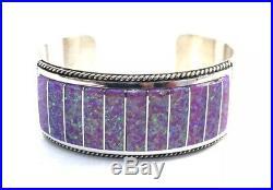 Native American Sterling Silver Hand Made Zuni Pink Opal Cuff Bracelet