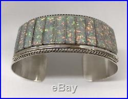 Native American Sterling Silver Hand Made Zuni While Opal Cuff Bracelet