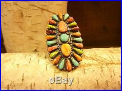 Native American Sterling Silver Multi Stone Turquoise Adjustable Ring USA Made