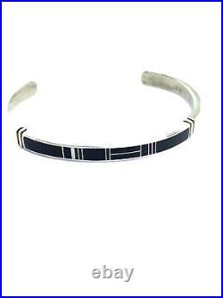 Native American Sterling Silver Navajo Hand Made Black Onyx Cuff Bracelet