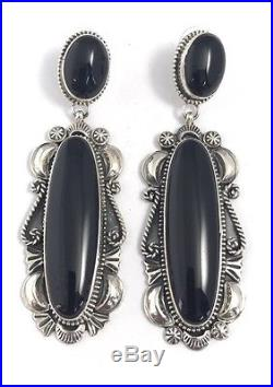 Native American Sterling Silver Navajo Hand Made Black Onyx Dangle Earrings