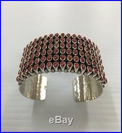 Native American Sterling Silver Navajo Hand Made Coral Cuff Bracelet