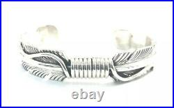 Native American Sterling Silver Navajo Hand Made Feather Cuff Bracelet