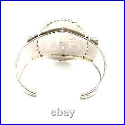 Native American Sterling Silver Navajo Hand Made Gispite Cluster Cuff Bracelet