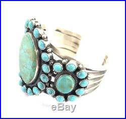 Native American Sterling Silver Navajo Hand Made Kingman Turquoise Cuff Bracelet