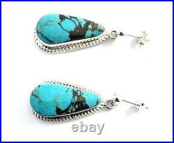 Native American Sterling Silver Navajo Hand Made Kingman Turquoise Earring