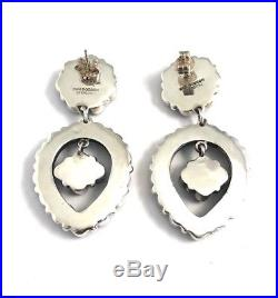 Native American Sterling Silver Navajo Hand Made Lapis Dangle Earring