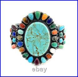 Native American Sterling Silver Navajo Hand Made Multicoloured Cuff Bracelet