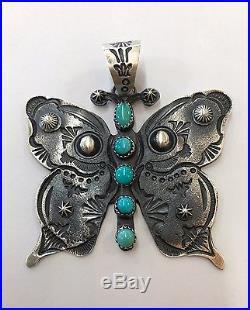Native American Sterling Silver Navajo Hand Made Old Look Butterfly Pendant