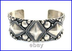 Native American Sterling Silver Navajo Hand Made Old Look Cuff Bracelet