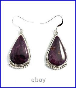 Native American Sterling Silver Navajo Hand Made Purple Spiny Oyster Earring