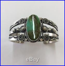 Native American Sterling Silver Navajo Hand Made Royston Turquoise Cuff Bracelet