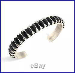 Native American Sterling Silver Navajo Hand Made Silver Cuff Bracelet