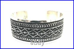 Native American Sterling Silver Navajo Hand Made Silver Stamp Cuff Bracelet