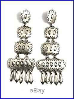 Native American Sterling Silver Navajo Hand Made Silver Stamp Old Look Earring