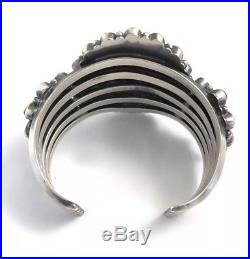 Native American Sterling Silver Navajo Hand Made Spiny Oyster Cuff Bracelet