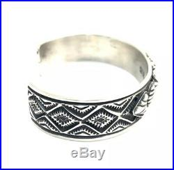 Native American Sterling Silver Navajo Hand Made Stamp Silver Cuff Bracelet