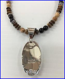 Native American Sterling Silver Navajo Hand Made Tiger Eyes Neckles