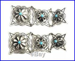 Native American Sterling Silver Navajo Hand Made TurquoiseStamp Old Look Earring