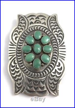 Native American Sterling Silver Navajo Hand Made Turquoise Belt Buckle