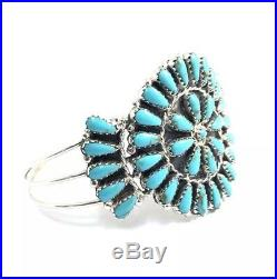 Native American Sterling Silver Navajo Hand Made Turquoise Cluster Cuff Bracelet