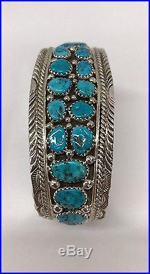 Native American Sterling Silver Navajo Hand Made Turquoise Cuff Bracelet